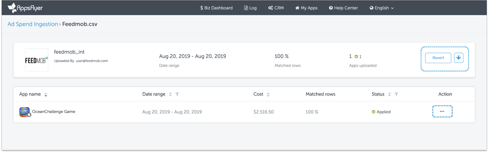 AppsFlyer's Ad Spend/Cost csv.Ingestion Page